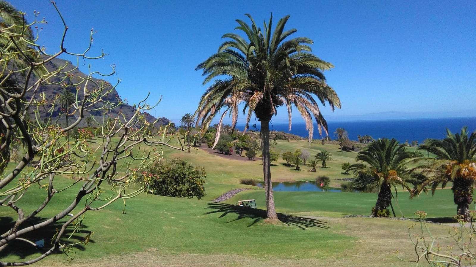 Campo de golf de Buenavista del Norte con la isla de La Palma en el horizonte